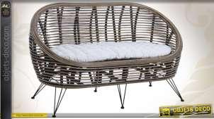 Canapé contemporain avec coussin d'assise coloris blanc