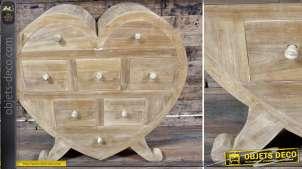 Commode à 8 tiroirs en teck vieilli en forme de coeur