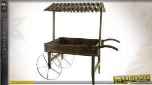 Chariot jardinière en bois et métal de style rétro