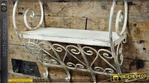 Etagère murale en métal finition blanc antique style rétro