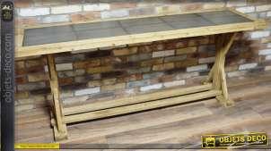 Grande table de style industriel en bois massif et métal vieilli 200 cm