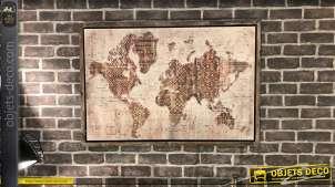 Toile du monde encadrée avec motifs inspirés de symboles africains
