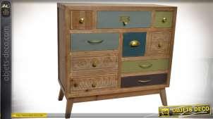 Commode en bois à 10 tiroirs de style éclectique et rétro