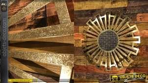 Décoration murale miroir et métal doré de 80 cm inspirée des Incas
