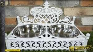 Grande gamelle pour chien déco en fonte et inox coloris blanche