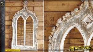 Miroir fenêtre gothique finition vieillie et rustique 116 cm