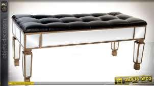 Banquette bout de lit similicuir noir et miroirs style vénitien