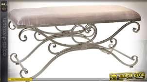 Banquette bout de lit de style baroque en métal et tissu velours