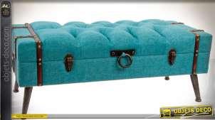 Bout de lit banquette-coffre en tissu capitonné coloris turquoise