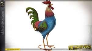 Grand coq stylisé en métal couleurs vives 69 cm