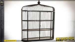 Grande étagère murale en métal en forme de cage à oiseaux métal brun 90 cm