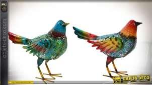 Couple d'oiseaux décoratifs en métal peints et vernis 33 cm