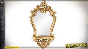 Miroir mural baroque doré avec tablette console 68 cm