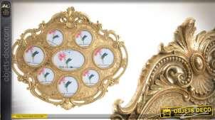 Cadre photo en résine de style baroque finition dorée 8 photos