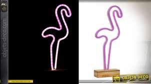 Décoration lumineuse à poser en bois et tube fluo motif flamant rose