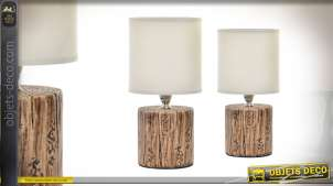 Série de 2 lampes de chevet en résine imitation tronc de 27cm