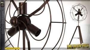Lampadaire de style industriel en bois et métal de 106 cm