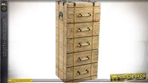Chiffonnier à 5 tiroirs en forme de malle exotique 92 cm