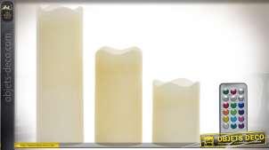 Set de 3 bougies décoratives en cire, LED avec télécommande