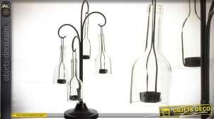 Girandole à bouteilles en verre et métal : 4 feux (54 cm)