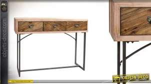 Console en bois double couleur et métal style moderne 110cm