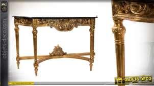 Console baroque en bois sculpté et résine finitions dorées