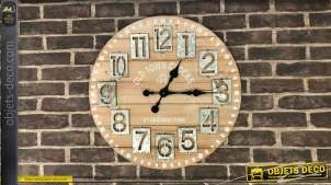 Horloge murale en bois et métal Ø60 - Old town clock