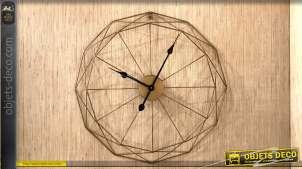 Horloge en métal finitions dorées Ø61 - La dodécagone
