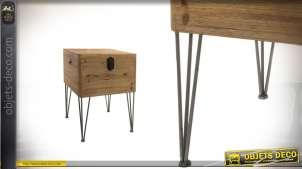 Table d'appoint en bois effet brut et métal - 74 cm de haut