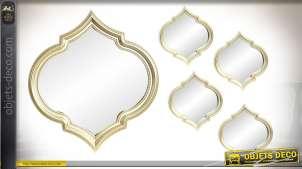 Set de 5 miroirs finitions dorées 55 cm