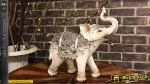 Statuette décorative d'éléphant indien harnaché patine blanche 31.5 cm