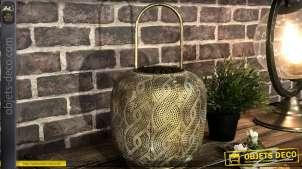 Lanterne pour bougie en métal doré et ajouré de style oriental 37 cm