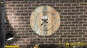 Horloge murale bois et métal de style rétro et indus effet rayures verticales Ø 70 cm