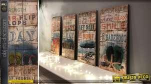 Série de 4 tableaux sur bois thème rétro, vacances et plage 48 cm
