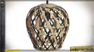 Suspension en lames de bambou tressées coloris naturel et noir Ø 28 cm