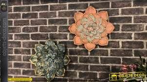 Duo de déco murales en métal, fleurs en relief coloris bleu et orange Ø 39 cm