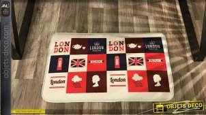 Tapis 70 x 44 en microfibre, antidérapant, thème Angleterre et Londres