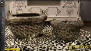 Duo de corbeilles rondes en osier gris vieilli doublure imitation fourrure Ø 45 cm