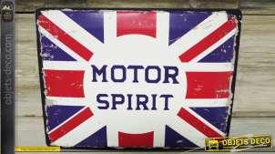 Déco murale vintage en métal Motor Spirit drapeau anglais 40 x 30 cm