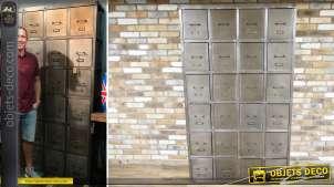 Grand meuble à tiroirs de style rétro et industriel à 24 tiroirs (2,06 mètres)