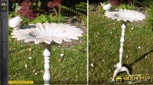 Bain d'oiseaux en métal style classique patine blanche vieillie 49 cm