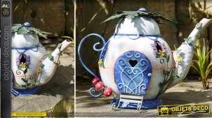 Objet déco grande théière en métal peinte esprit fantasy 28 cm