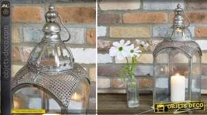 Lanterne ancienne en métal gris argenté 50 cm