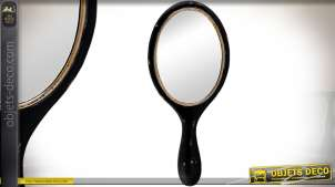 Miroir à main ovale en bois patine noir style rétro 23 cm