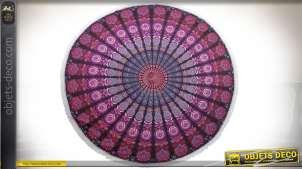 Tapis de table / nappe ronde en coton tissé à motifs mandalas Ø 190 cm