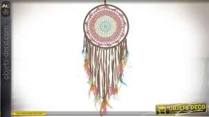 Attrape-rêves amérindien en coton tressé et plumes multicolores 100 cm