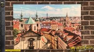 Grande toile 90 x 60 sur cadre bois : vue des toits de Prague