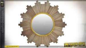 Miroir original en bois naturel oxydé et métal doré Ø 66 cm