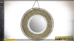 Miroir circulaire suspendu en bois et fibre tressée Ø 51 cm