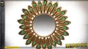 Miroir doré rond avec encadrement à motifs de plumes de paons Ø 50 cm